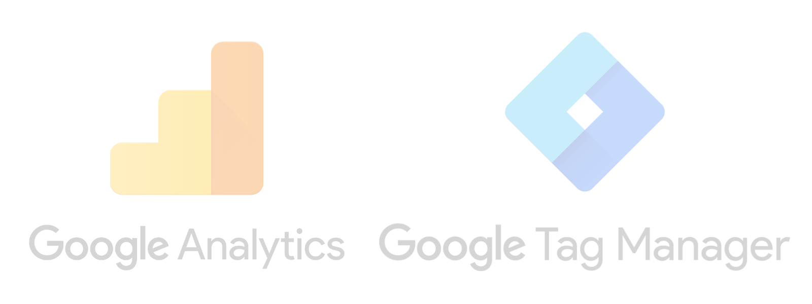Google Analytics and Google Tag Manager logos